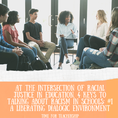 4 Keys for Talking About Racism in Schools: #1 A Liberating Dialogic Environment. Part 1 in a 4-part series from Dr. Cherie Bridges Patrick's work on building capacity for generative racial dialogue in schools. Check out the Time for Teachership blog post. For more ideas on how to work for educational equity, sign up for weekly emails at bit.ly/lindsayletter #growthmindset #antiracism