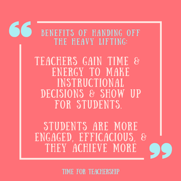 Hand Off the Heavy Lifting. Student-centered learning is good for kids & gives you a break from grading & making worksheets. Find out how & why to set this up. Scroll all the way down for a limited-time freebie! Check out the blog post by Lindsay Lyons for Time for Teachership. For more tips and #teacherfreebies, sign up for weekly emails at bit.ly/lindsayletter   #growthmindset #teacherwellbeing