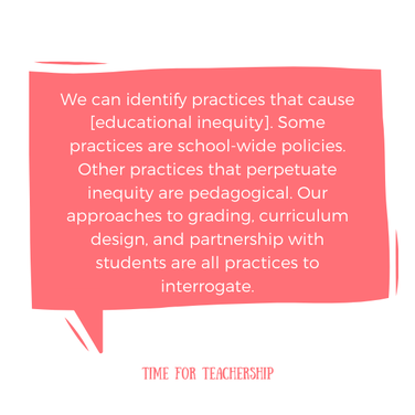 How to Make School More Equitable. In this post, I share some of the major pedagogical shifts for you to consider as you think about how your school can advance educational equity moving forward. Check out the blog post by Lindsay Lyons for Time for Teachership & get one of my #teacherfreebies at the end.  For more tips on instructional strategies, sign up for weekly emails at bit.ly/lindsayletter