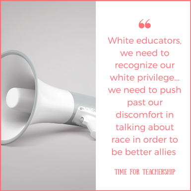 Teaching about Racism & Current Events. How do we teach about events of racist violence in our classrooms? This post offers resources for talking about racial injustice with your students and colleagues. Check out the blog post by Lindsay Lyons for Time for Teachership. For more instructional strategies & ideas on educational equity, sign up for weekly emails at bit.ly/lindsayletter #growthmindset