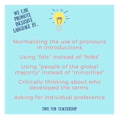 The Terms We Use Matter: Part 1. As teachers, it's critically important we language that doesn't offend our students or families. Check out the Time for Teachership blog post for a list of terms and questions to consider as you start the new school year. For more tips on educational equity, sign up for weekly emails at bit.ly/lindsayletter